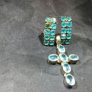 Vintage Jewelry sterling silver stone and glass